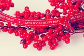 Rowan branch with ribbon Merry Christmas