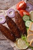Kebab Of Minced Meat With Vegetables Vertical Top View