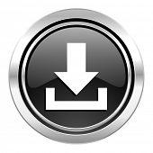 download icon, black chrome button
