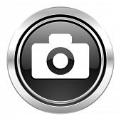 camera icon, black chrome button