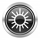 sun icon, black chrome button, waether forecast sign  poster