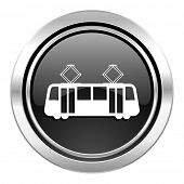 tram icon, black chrome button, public transport sign
