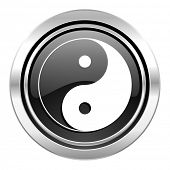 ying yang icon, black chrome button