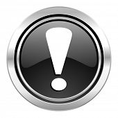 exclamation sign icon, black chrome button, warning sign