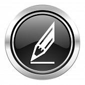 pencil icon, black chrome button, draw sign