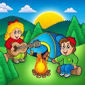 Постер, плакат: Два кемпинга дети