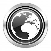 earth icon, black chrome button, world sign
