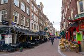 AMSTERDAM - AUGUST 29: Old city landscape at daytime on August 29, 2014 in Amsterdam, Leidsekruisstraat
