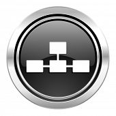 database icon, black chrome button