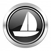 yacht icon, black chrome button, sail sign