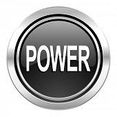 power icon, black chrome button