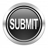 submit icon, black chrome button