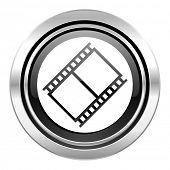 film icon, black chrome button, movie sign, cinema symbol