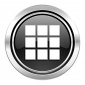 thumbnails grid icon, black chrome button, gallery sign