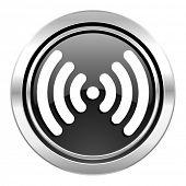 wifi icon, black chrome button, wireless network sign