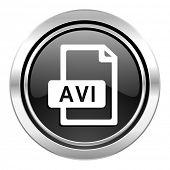 avi file icon, black chrome button