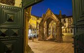 Ancient monument ( Padrao do Salado ) in the center of Guimaraes city, Portugal