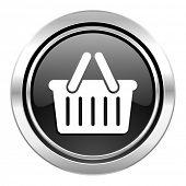 cart icon, black chrome button, shopping cart symbol