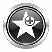star icon, black chrome button, add favourite sign