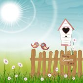 image of bird fence  - two birds kissing and sitting on a fence with bird house - JPG