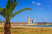 Landscape: Views Of The Port And The Lighthouse In The Town Of Rethymno, Crete, Greece