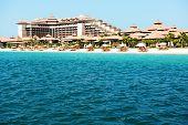 Beach Of The Luxury Thai Style Hotel On Palm Jumeirah Man-made Island, Dubai, Uae