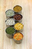 image of tumblers  - Different lentils in the small tumblers - JPG
