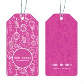 Vector holiday lanterns line art vertical round frame pattern tags set