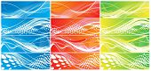 Abstract four different type color wave element vector backgrounds for design