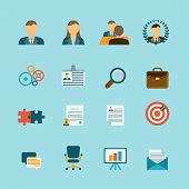 picture of human resource management  - Organization human resources efficiency management and personnel selection recruitment strategy flat icons collection abstract isolated vector illustration - JPG