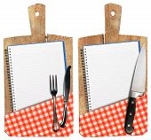 Empty Notebooks On Old Wood Cutting Boards