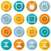 image of stopwatch  - Alarm clock old sand watch stopwatch timer time management icons white set isolated vector illustration - JPG