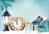 Happy New Year. Holiday background with champagne glasses and clock. Vector illustration