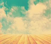 sunset sky and wood floor, retro filtered, instagram style, background image
