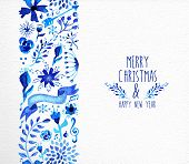 image of christmas flower  - Hand drawn watercolor Christmas elements seamless pattern background - JPG