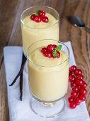 Vanilla Cream Dessert With Vanilla Bean And Currant