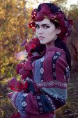 Beautiful Brunette In The Autumn Light