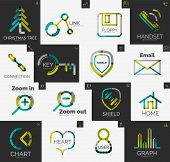 Abstract company logo collection - 16 line style business corporate logotypes, web universal icon set