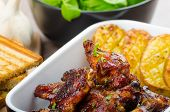 Sticky Chicken Wings With Garlic Panini Bread