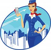 image of air hostess  - A young sexy air hostess cartoon character - JPG