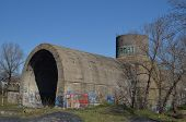KIEV, UKRAINE -APR 6, 2014: Old tunnel of Stalin. Part of Kiev defense line in WW2 time. today named