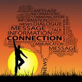 Concept or conceptual black contact technology tree and grass word cloud, a man jumping on sunset with sun background