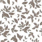 Silhouette of  leaves. Seamless vector pattern