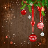 Festive christmas background with beautiful holiday balls and christmas tree. Copy space.