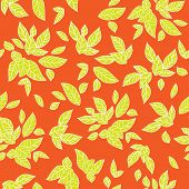 Summer leaves. Bright seamless pattern