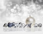 Christmas decorations on sparkling background - copy space