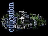 Concept or conceptual education abstract word cloud isolated on background