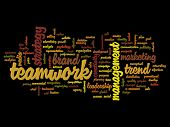 High resolution concept or conceptual abstract success or teamwork word cloud or wordcloud isolated on background