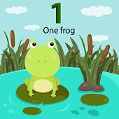 foto of swamps  - Illustrator of number one with frog in swamp - JPG