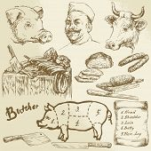 butcher, meat - hand drawn collection